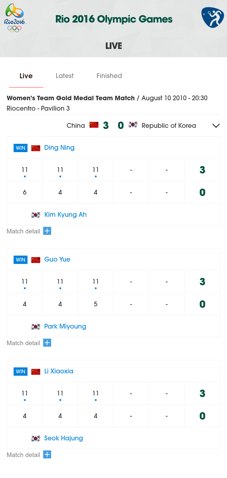 Table Tennis Olympic Widget
