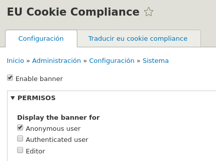 Enable and permissions Eu Cookie Compliance.