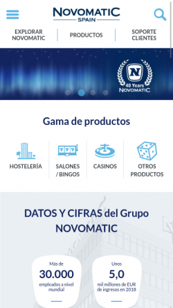 Portada de Novomatic Spain en móvil