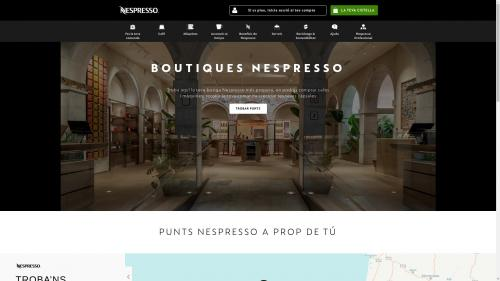 Home page of the Nespresso boutique website.