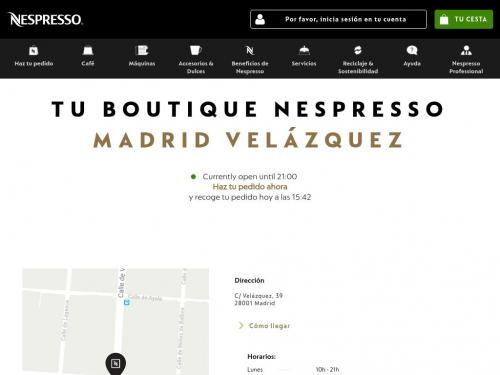 Details of the boutique on Velazquez Street in Madrid.